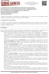 CLASSIFICATION ET REPERTOIRE DES ROCHES MAGMATIQUES